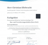 Personenzertifizierter Sachverständiger für Bau- und Versicherungsschäden (Euro-Zert) DIN EN ISO/IEC 17024:2012  Zusatzqualifikation Sachverständiger für die Beurteilung von Feuchte- und Schimmelpilzschäden (Euro-Zert) ZN-2018-05-05-0774 überwacht durch: SVG office GmbH  gültig bis 04.05.2023